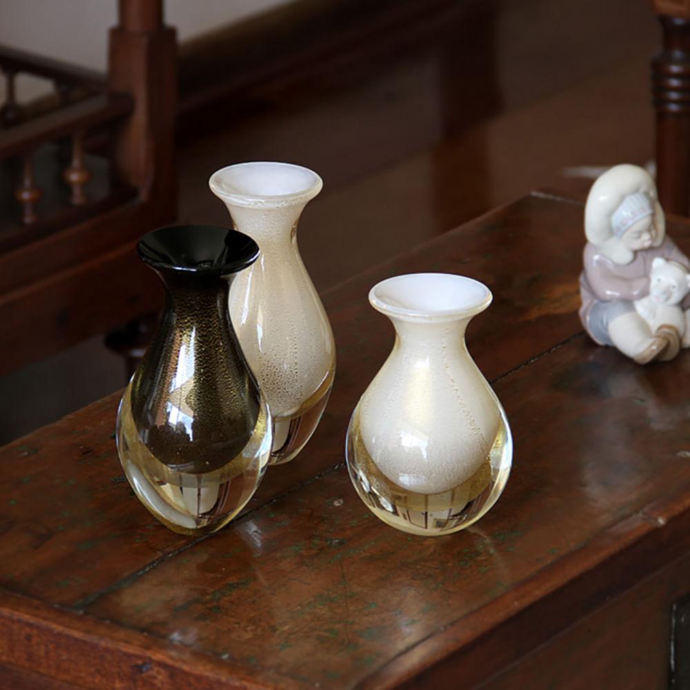 Vasinho 3 Branco com Ouro Murano Cristais Cadoro