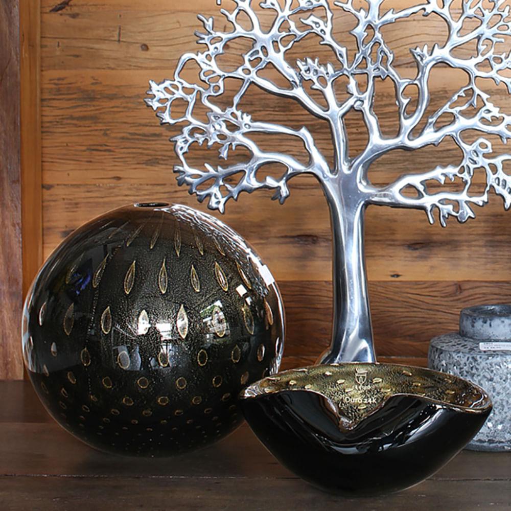 Bowl 1 Tela Preto com Ouro Murano Cristais Cadoro