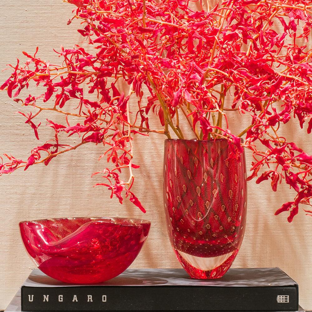 Bowl 1 Tela Vermelho com Ouro Murano Cristais Cadoro