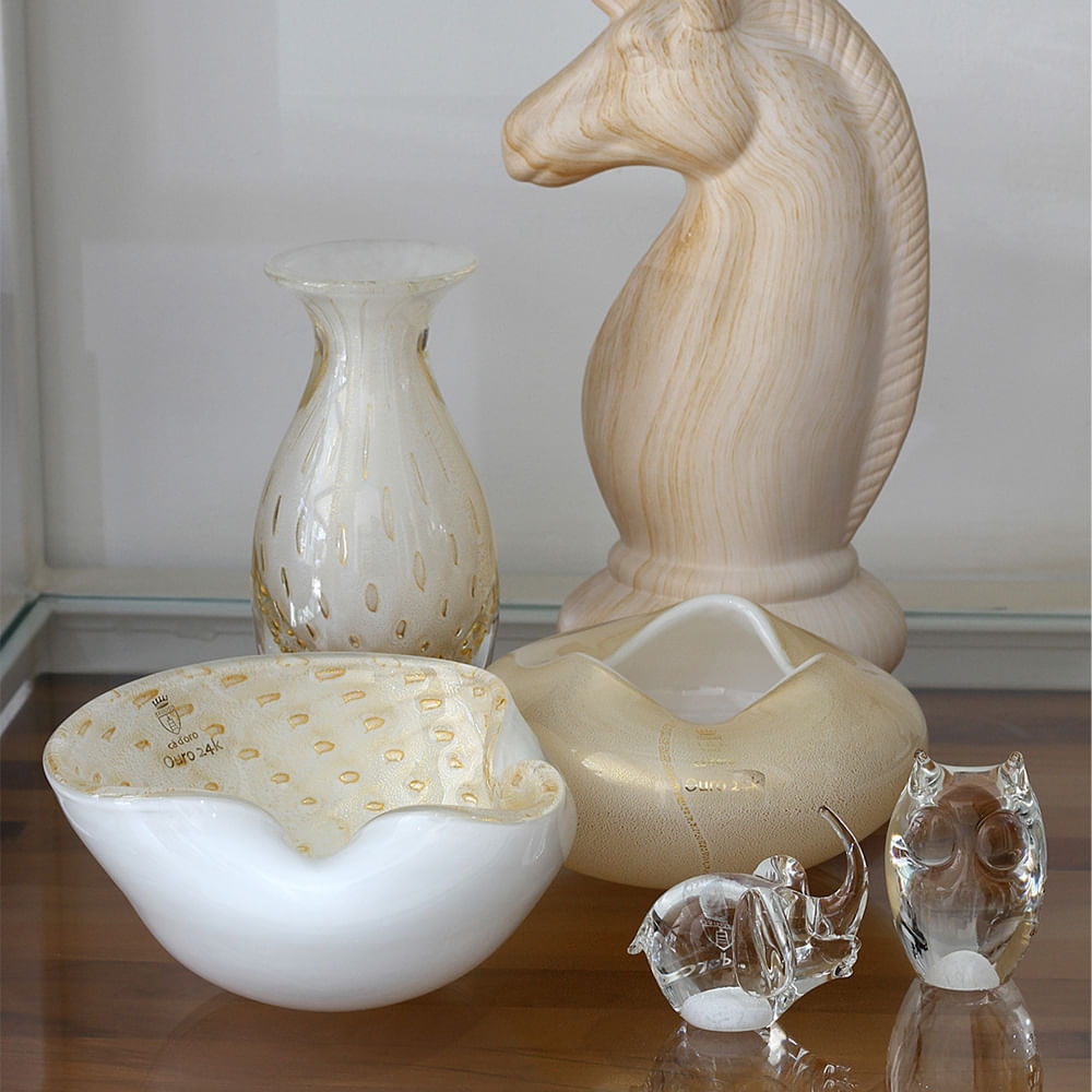 Bowl 2 Tela Branco com Ouro Murano Cristais Cadoro