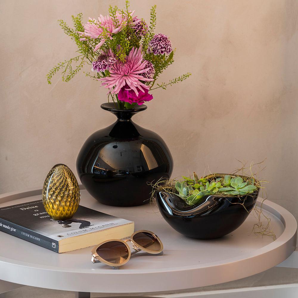 Bowl 2 Tela Preto com Ouro Murano Cristais Cadoro