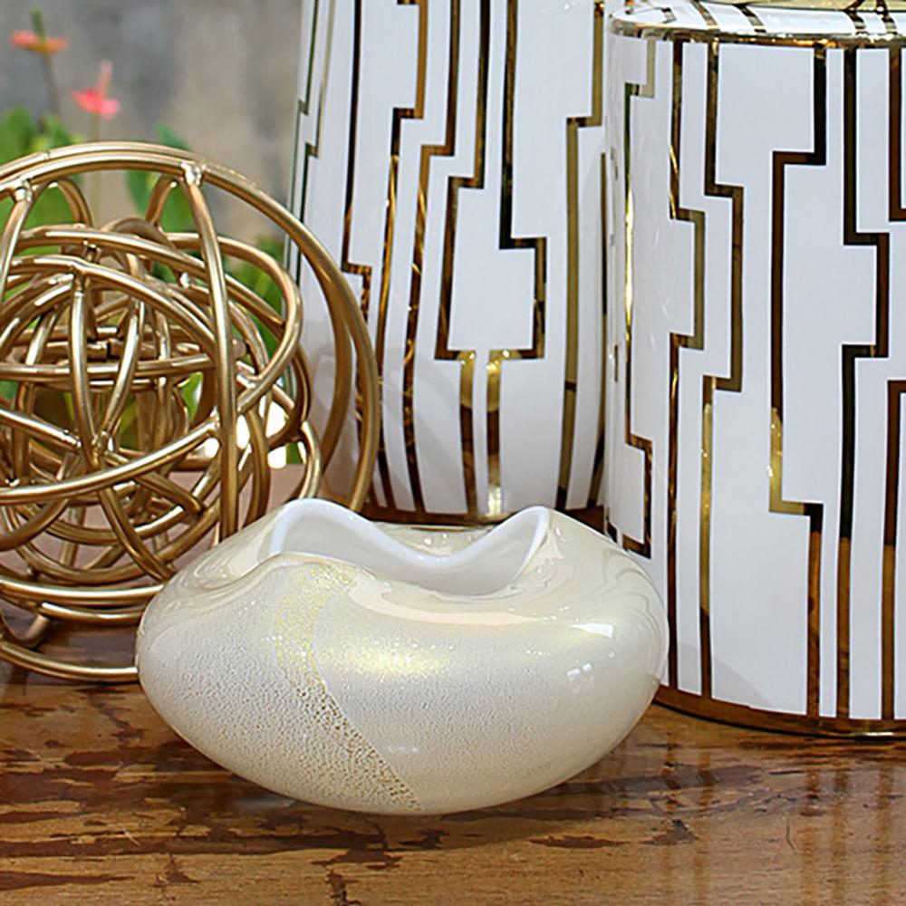 Vaso Oceano Mini 3 Branco com Ouro Murano Cristais Cadoro