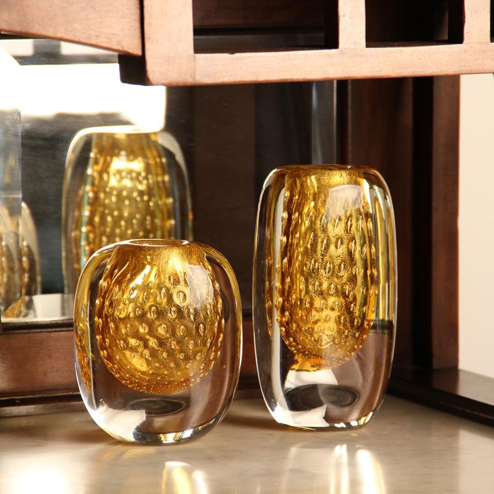 Vasinho Quadrado 2 Tela Âmbar com Ouro Murano Cristais Cadoro
