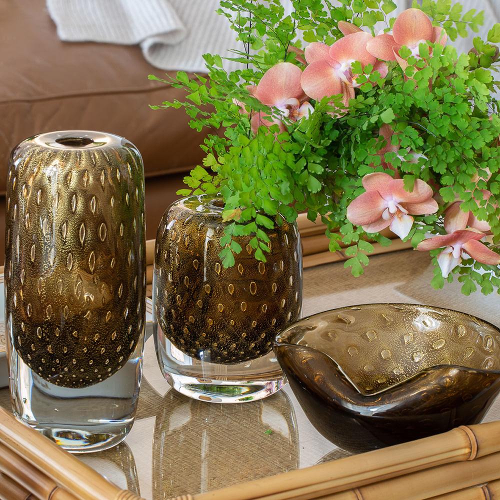 Vasinho Quadrado 3 Tela Fumê com Ouro Murano Cristais Cadoro