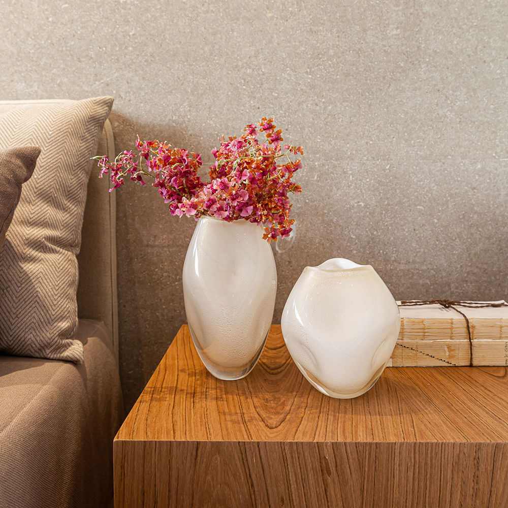 Vasinho Roca 2 Branco com Ouro Murano Cristais Cadoro