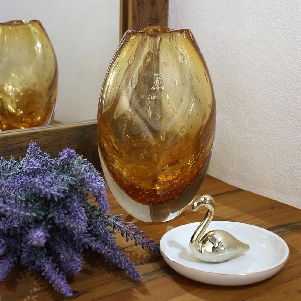 Vasinho Roca 2 Tela Âmbar com Ouro Murano Cristais Cadoro