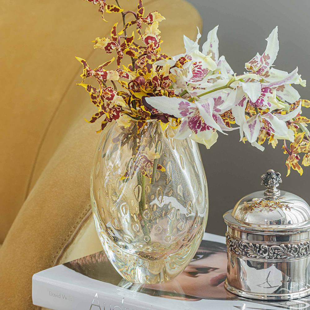 Vasinho Roca 2 Tela Transparente com Ouro Murano Cristais Cadoro