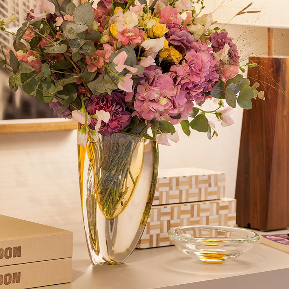 Vaso Triangular nº 3 Âmbar com Ouro Murano Cristais Cadoro