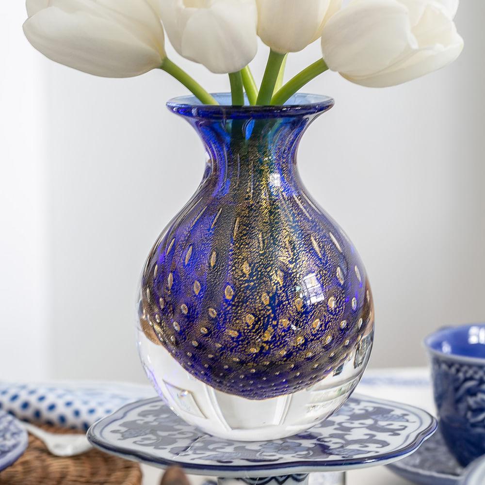 Vasinho 3 Tela Azul com Ouro Murano Cristais Cadoro