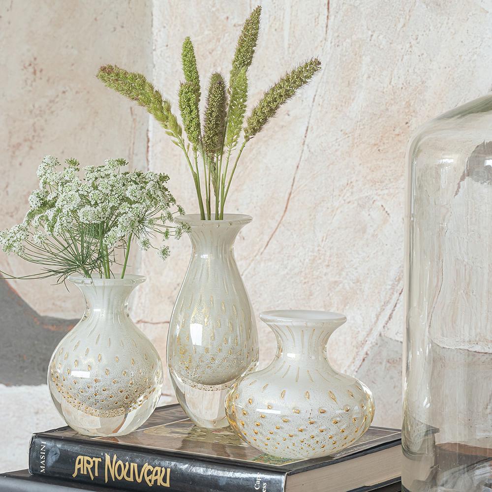 Vasinho 3 Tela Branco com Ouro Murano Cristais Cadoro