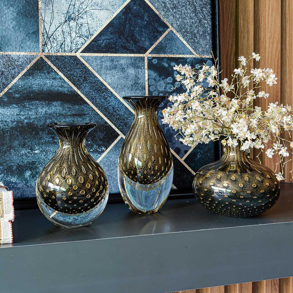 Vasinho 3 Tela Preto com Ouro Murano Cristais Cadoro
