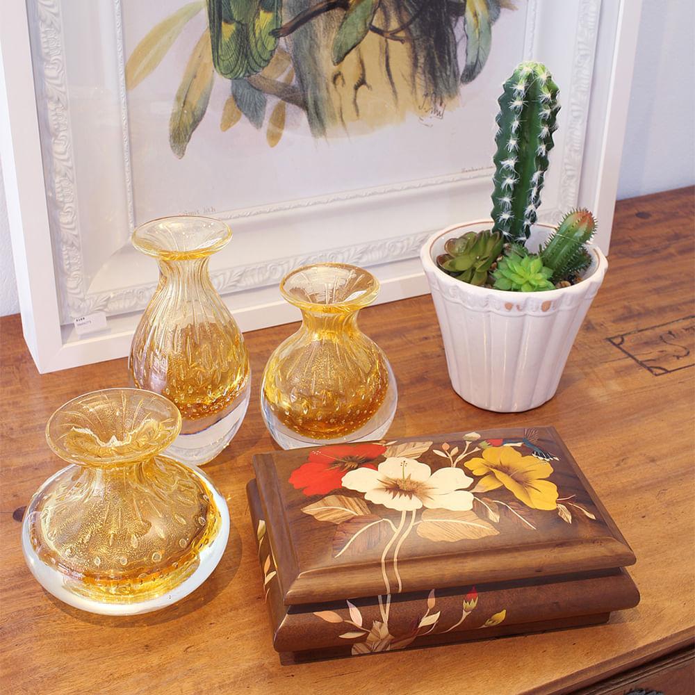 Vasinho 4 Tela Âmbar com Ouro Murano Cristais Cadoro