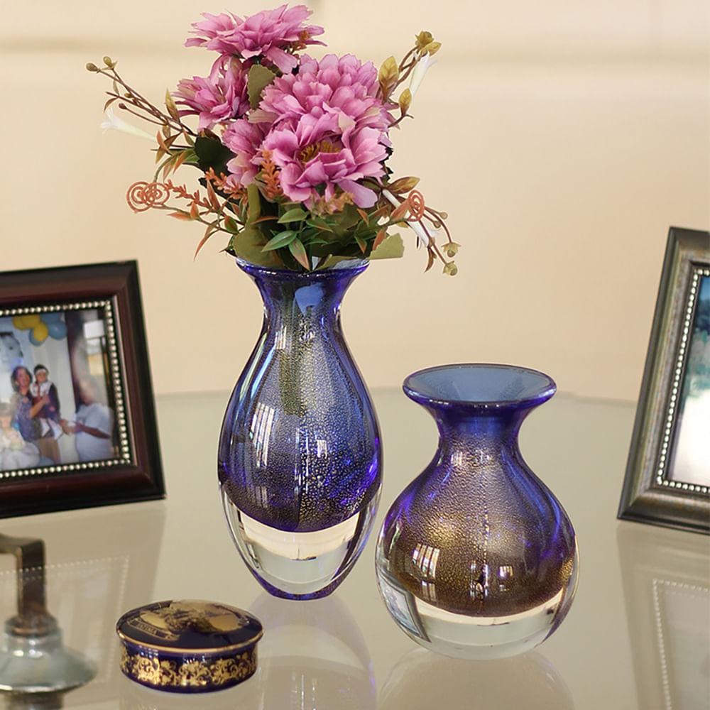 Vasinho 2 Azul com Ouro Murano Cristais Cadoro