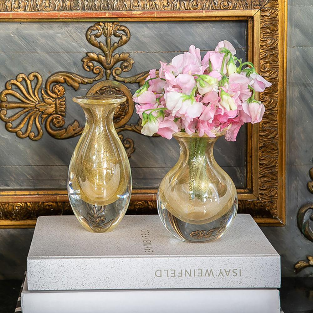 Vasinho 2 Transparente com Ouro Murano Cristais Cadoro