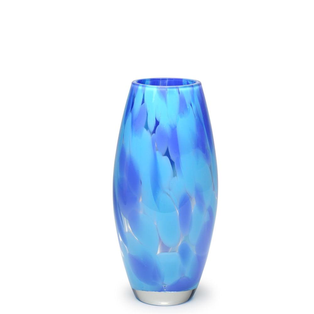 Vaso Oliva P Multicor Azul e Água-marinha Murano Cristais Cadoro