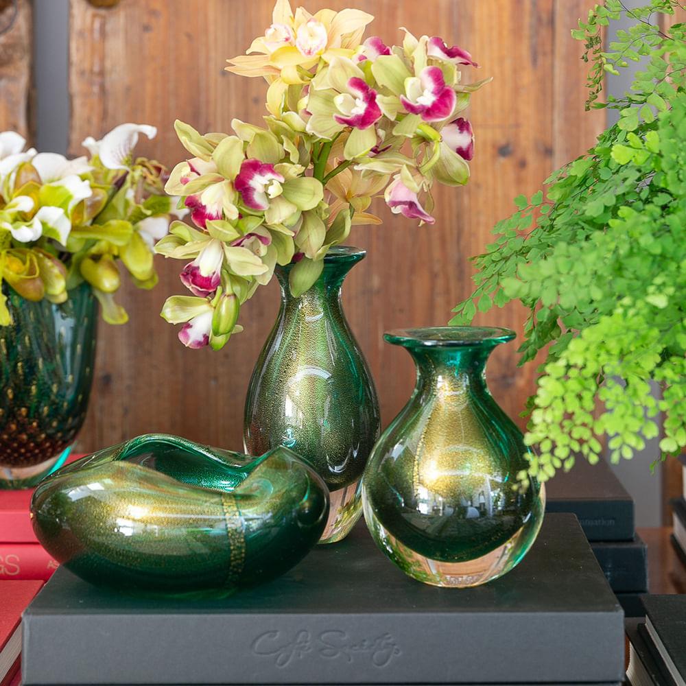 Vasinho 2 Verde com Ouro Murano Cristais Cadoro