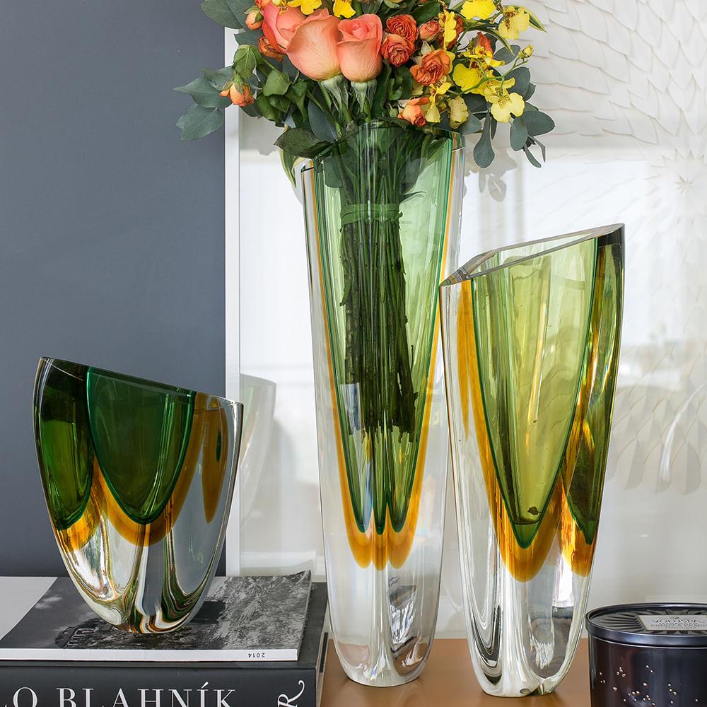 Vaso Triangular nº 1 Bicolor Verde com Âmbar Murano Cristais Cadoro