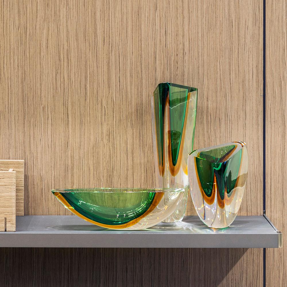 Canoa 160 MS Bicolor Verde com Âmbar Murano Cristais Cadoro