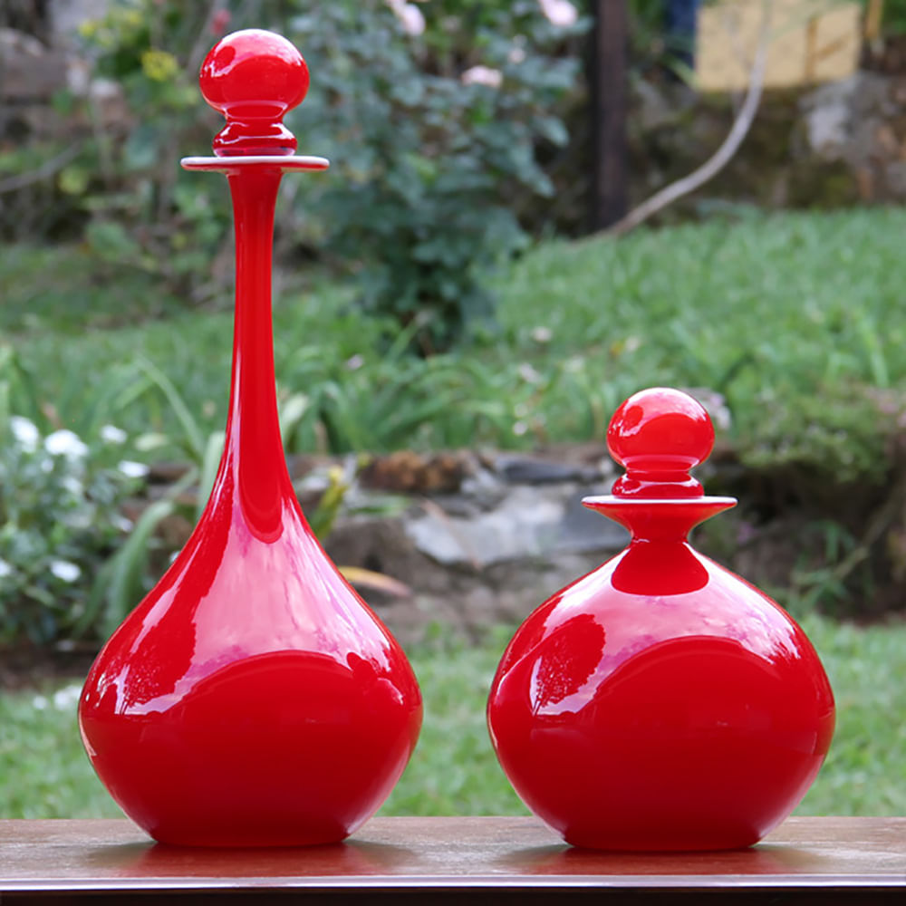 Garrafa 426 Leitosa Vermelha Murano Cristais Cadoro