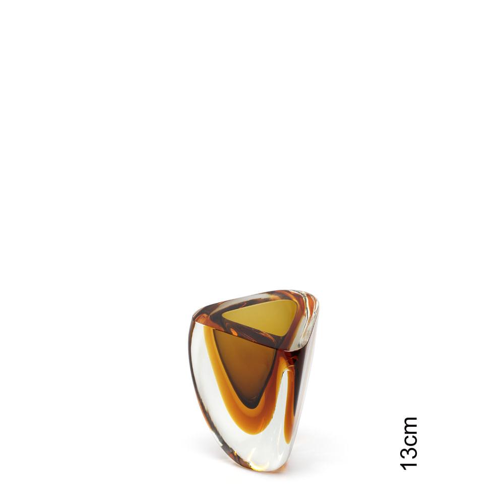 Vasinho Triangular nº 4 Bicolor Fumê com Âmbar Murano Cristais Cadoro