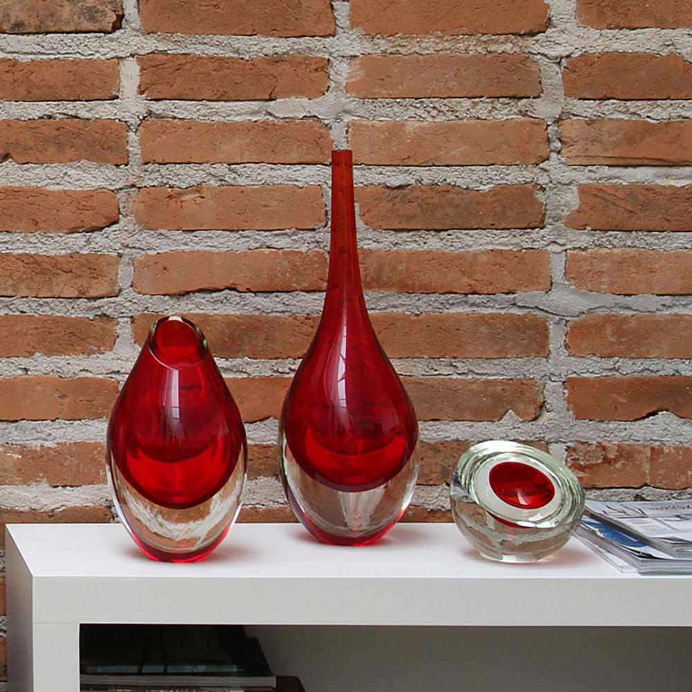 Gota Baixa Vermelha Murano Cristais Cadoro