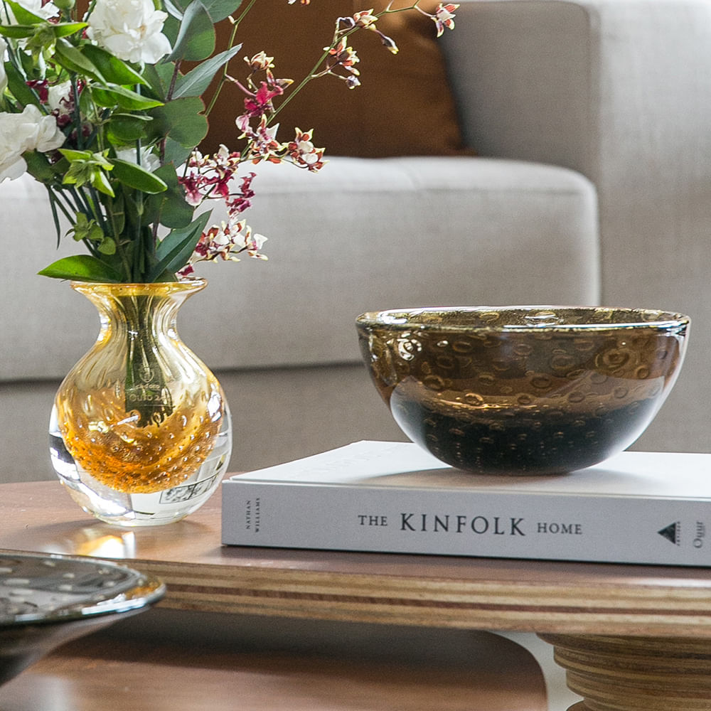Bowl Tela Fumê com Ouro Murano Cristais Cadoro