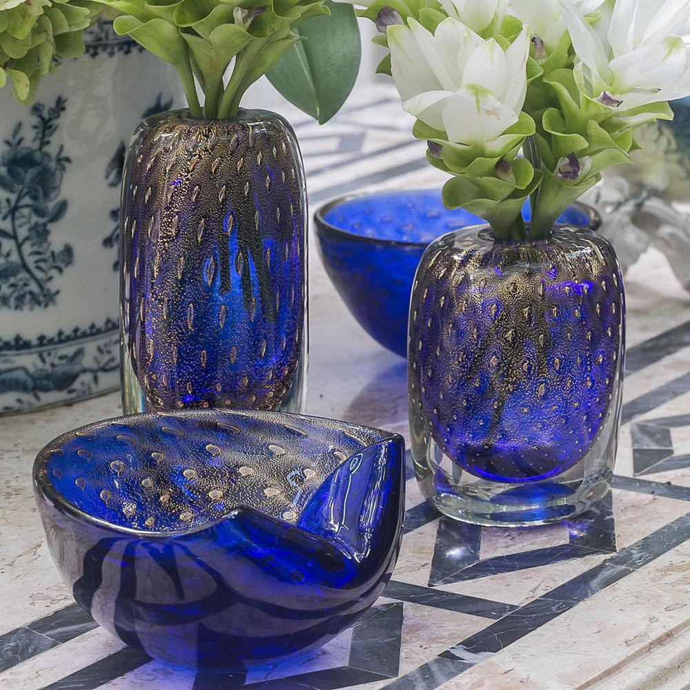 Vasinho Quadrado 3 Tela Azul com Ouro Murano Cristais Cadoro