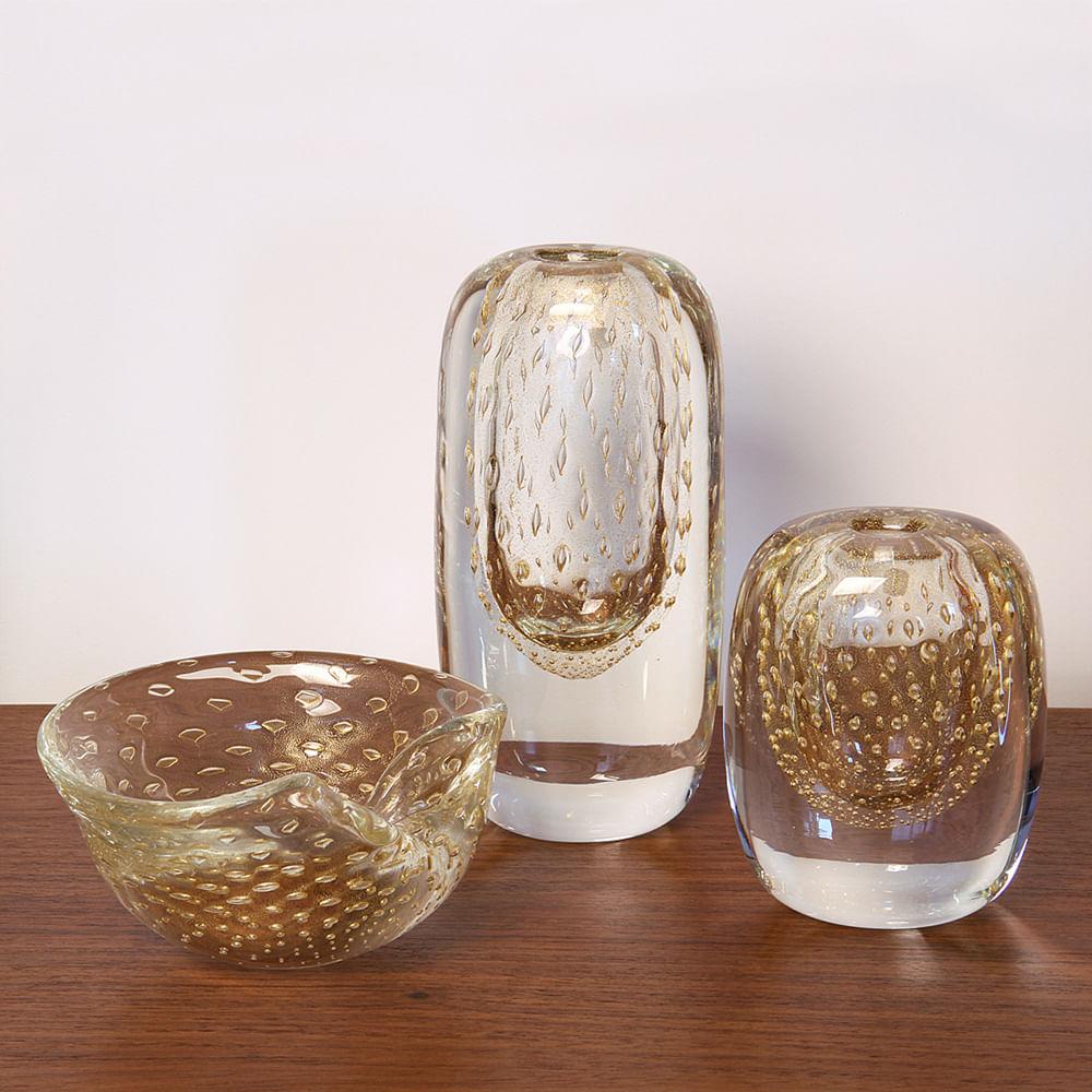 Vasinho Quadrado 3 Tela Transparente com Ouro Murano Cristais Cadoro
