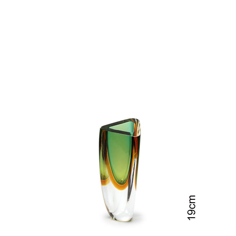 Vasinho Triangular nº 3 Bicolor Verde com Âmbar Murano Cristais Cadoro