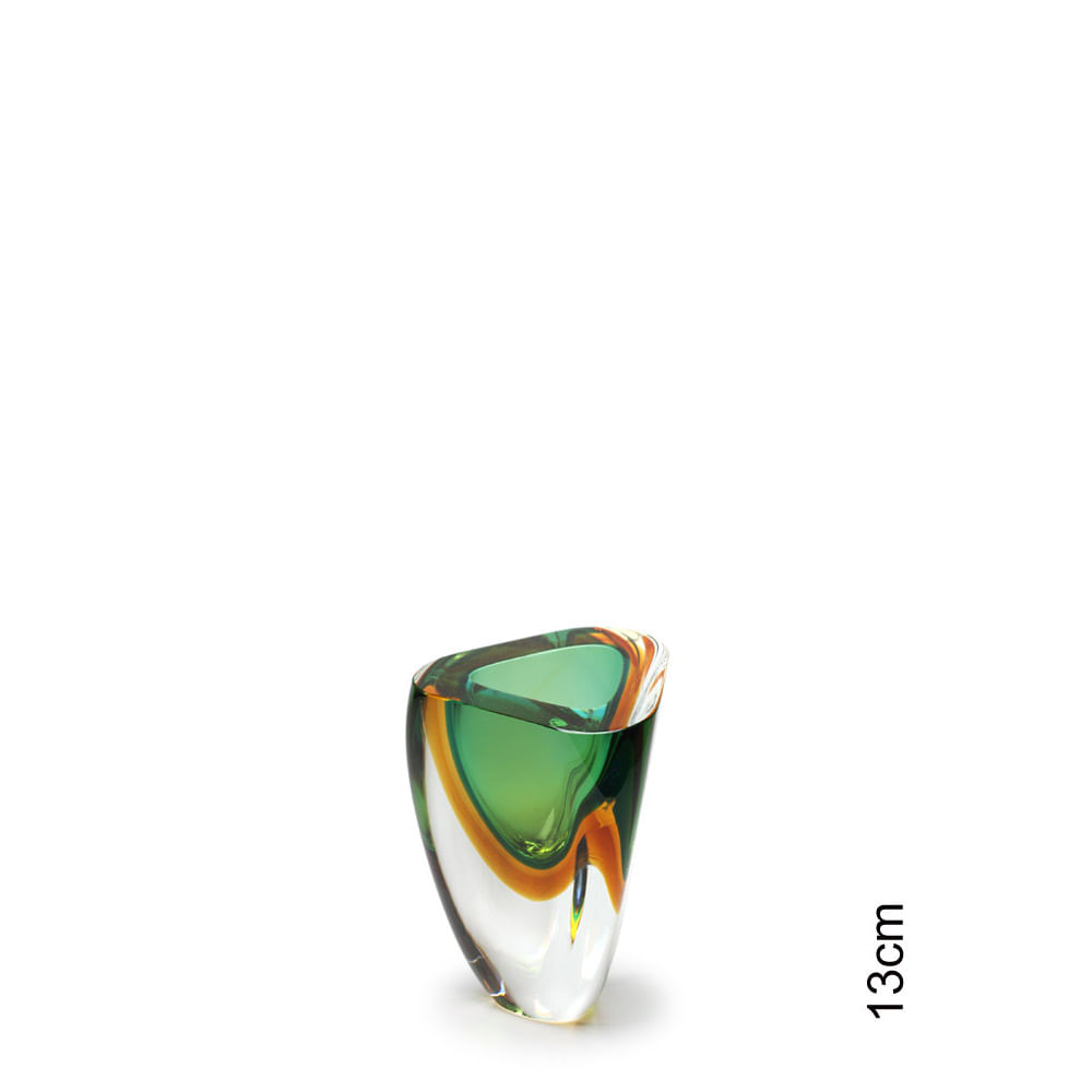 Vasinho Triangular nº 4 Bicolor Verde com Âmbar Murano Cristais Cadoro