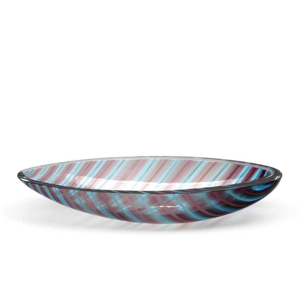 Bowl Canoa Pequena com Bastões Roxo e Água-marinha Murano Cristais Cadoro