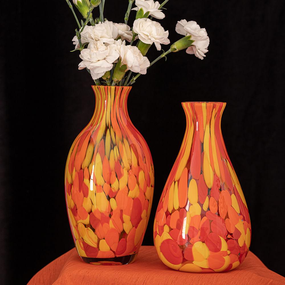 Vaso 67 Multicor Amarelo, Laranja e Coral Murano Cristais Cadoro