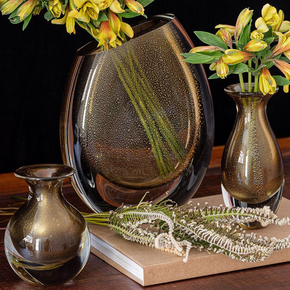 Vaso 96 MS Fumê com Ouro Murano Cristais Cadoro