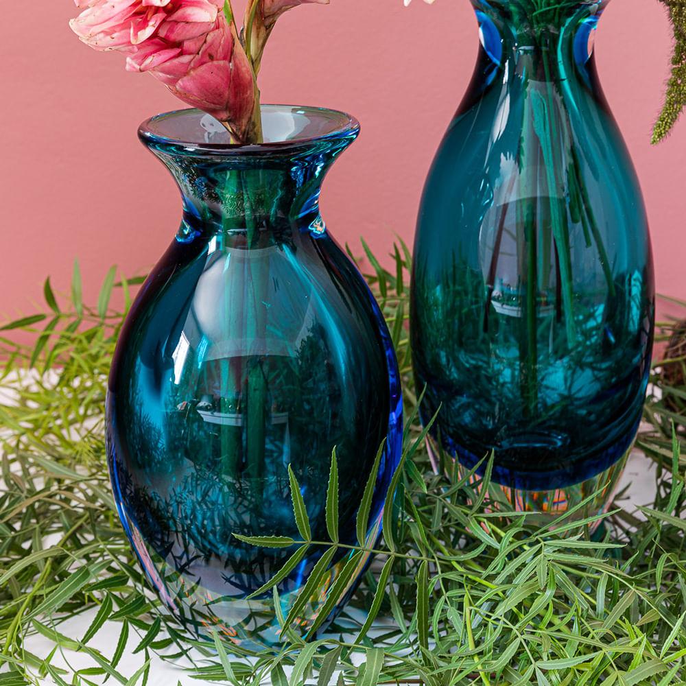 Vaso Gota 3 Bicolor Verde com Água-marinha Murano Cristais Cadoro