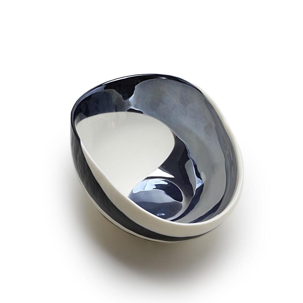 Bowl de Murano Marfim Espiral Azul Escuro Iridescente Yalos