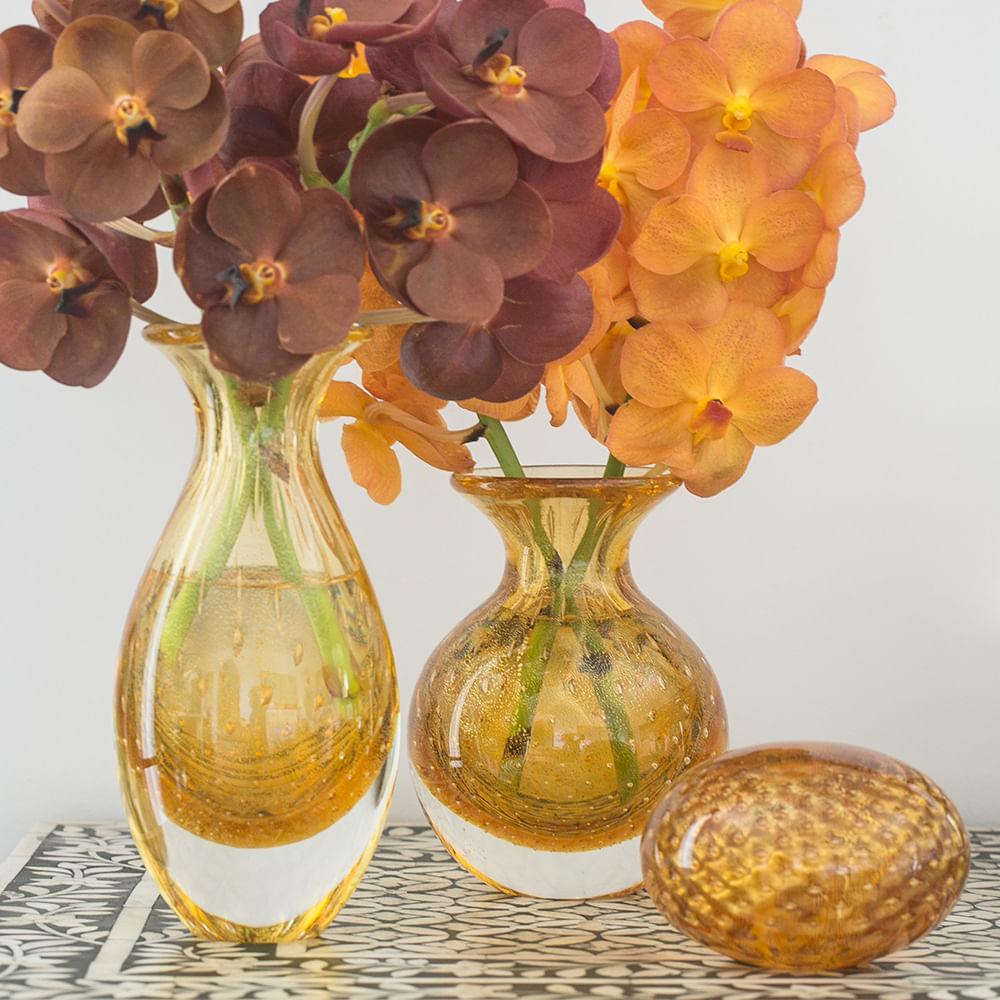 Par de Vasinhos nº2 e nº3 Tela Âmbar com Ouro Murano Cristais Cadoro
