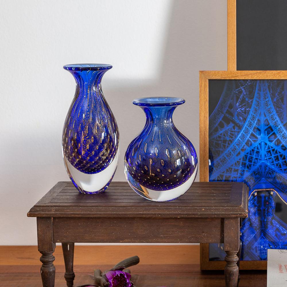 Par de Vasinhos nº2 e nº3 Tela Azul com Ouro Murano Cristais Cadoro