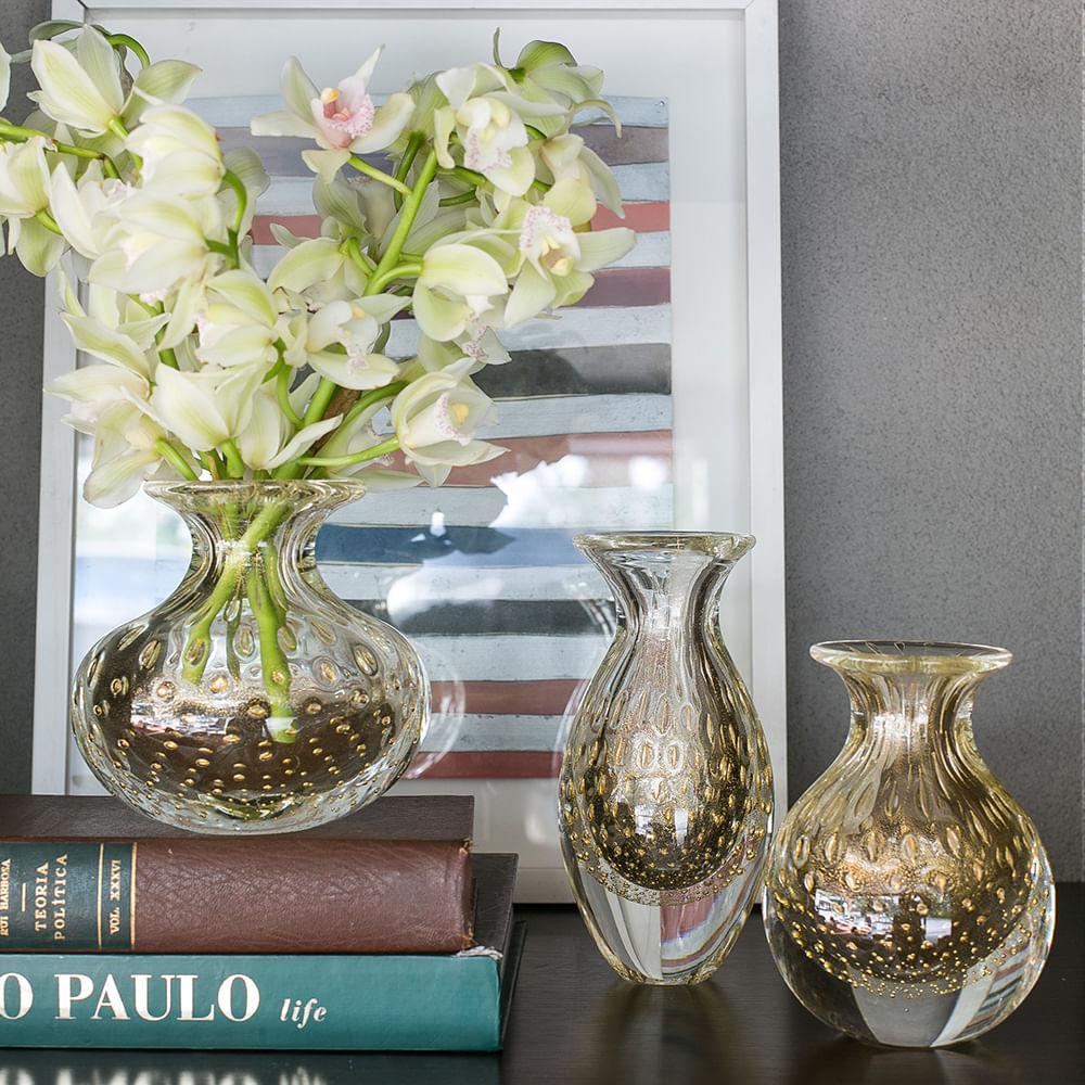 Par de Vasinhos nº2 e nº3 Tela Transparente com Ouro Murano Cristais Cadoro