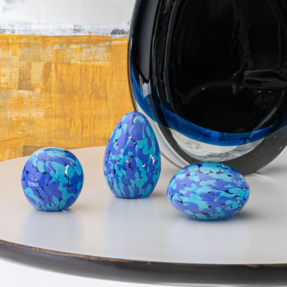 Peso Multicor Pequeno Bola Azul e Água-marinha Murano Cristais Cadoro