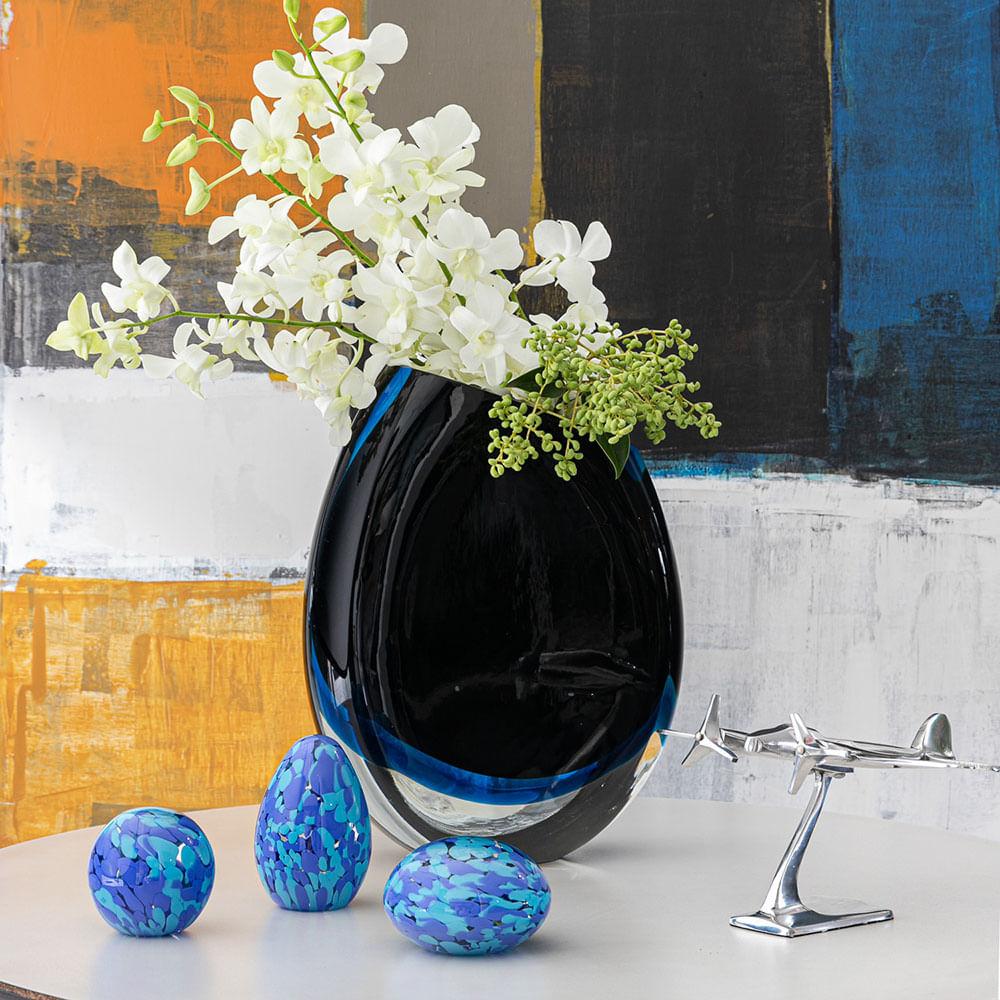 Peso Multicor Pequeno Oval Azul e Água-marinha Murano Cristais Cadoro