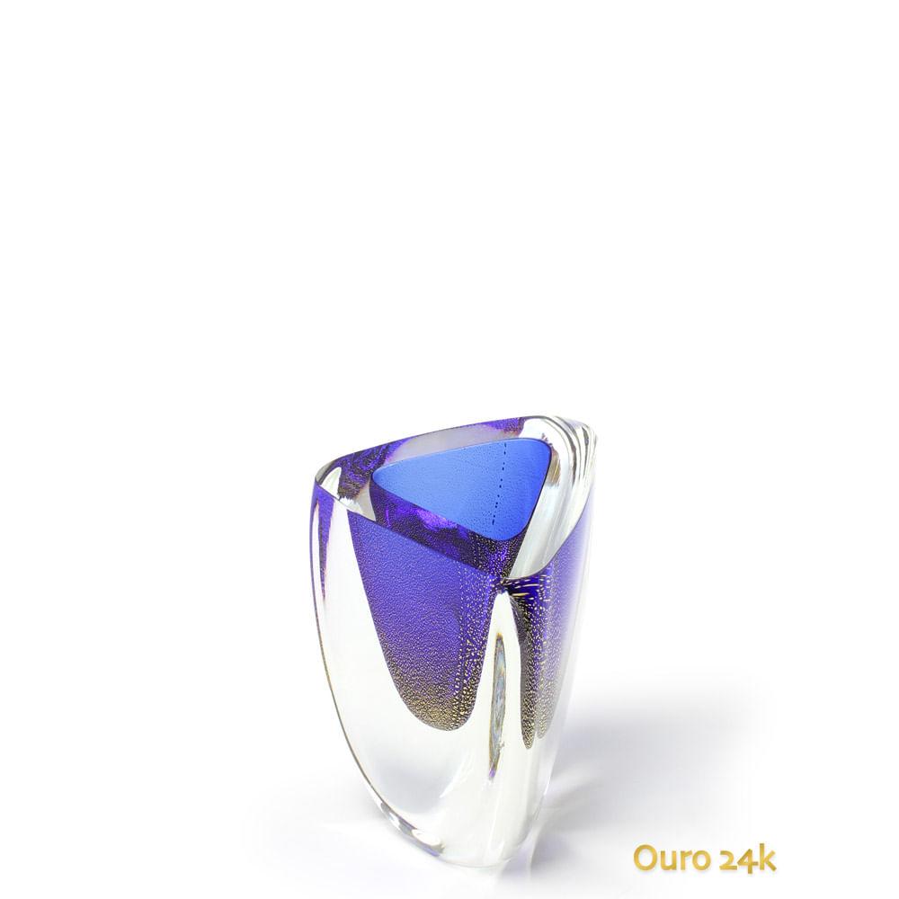 Vaso Triangular nº 4 Azul com Ouro Murano Cristais Cadoro