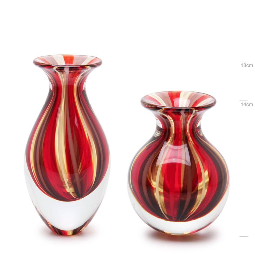 Par de Vasos Mini com Bastões Vermelho, Roxo e Âmbar Murano Cristais Cadoro