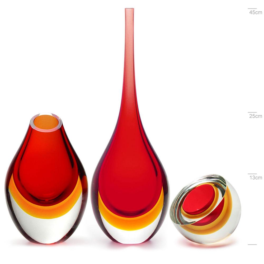 Conjunto com Par de Gotas Alta e Baixa e Centro Gota Diagonal Bicolor  Vermelha com Âmbar Murano Cristais Cadoro
