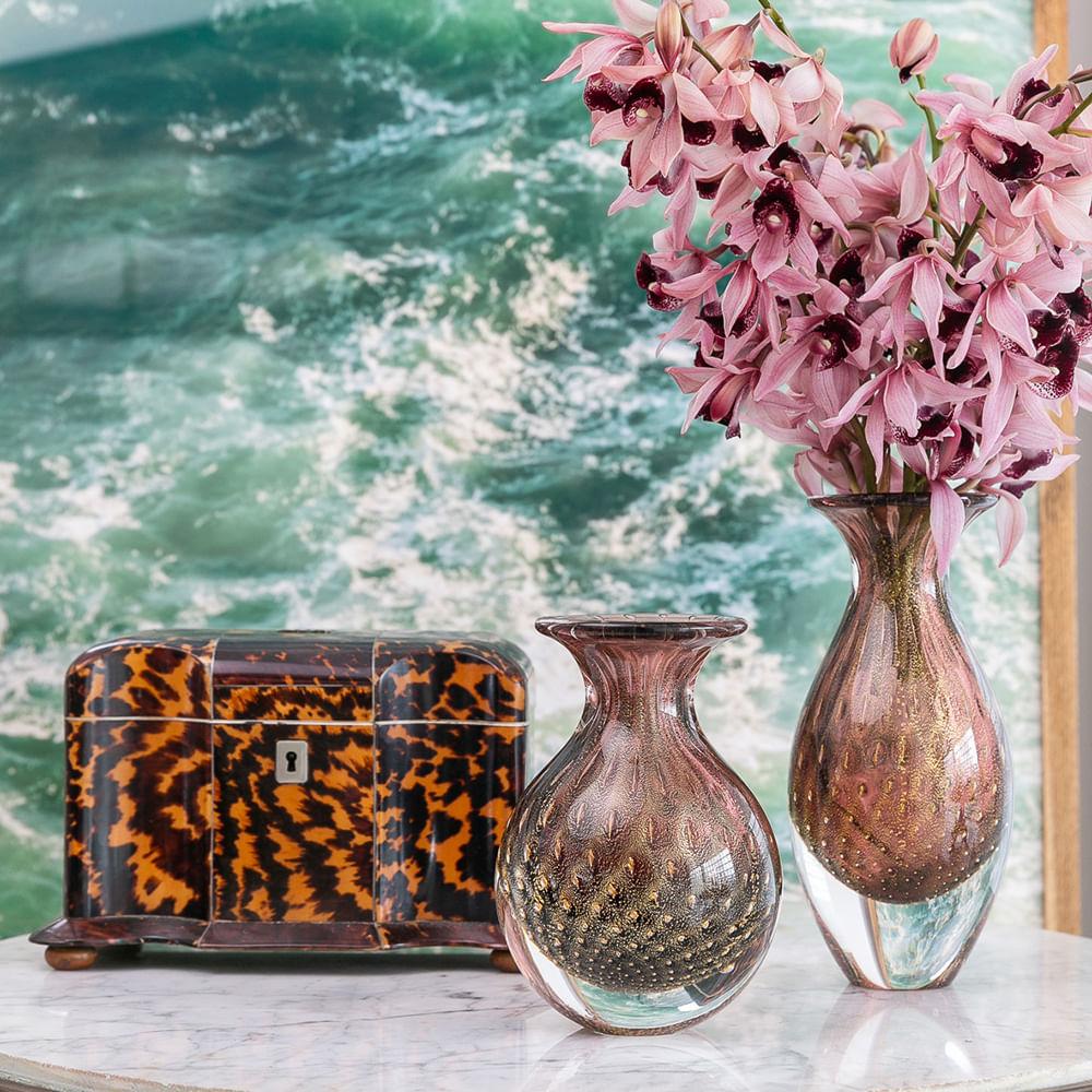 Trio de Vasos Mini Tela Roxo com Ouro Murano Cristais Cadoro