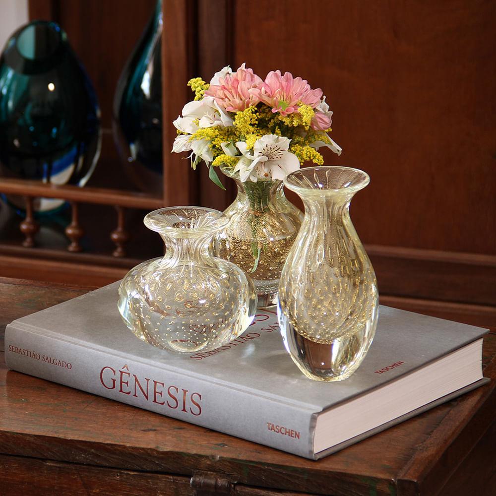 Trio de Vasos Mini Tela Transparente com Ouro Murano Cristais Cadoro