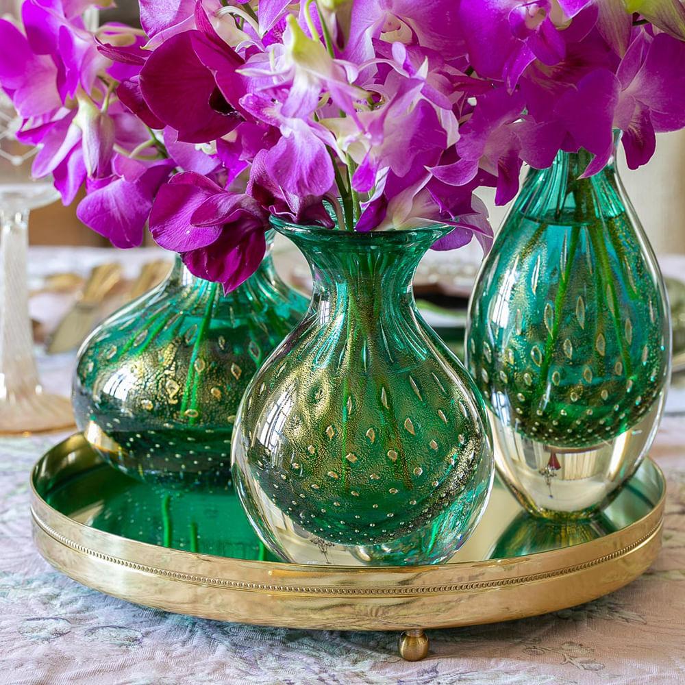 Trio de Vasos Mini Tela Verde com Ouro Murano Cristais Cadoro